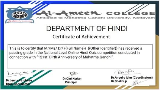 Gandhi Jayanti- National Level Online Hindi Quiz Competition