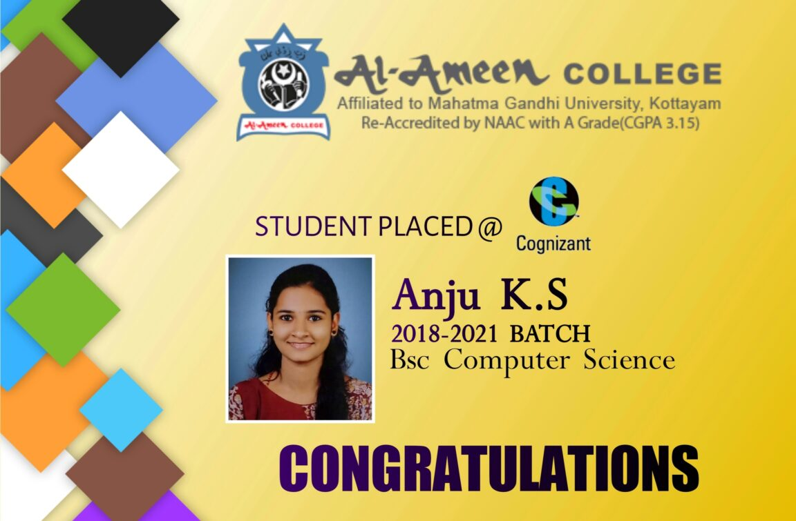Anju K S BSc Computer Science 2018-21 Placed in Cognizant