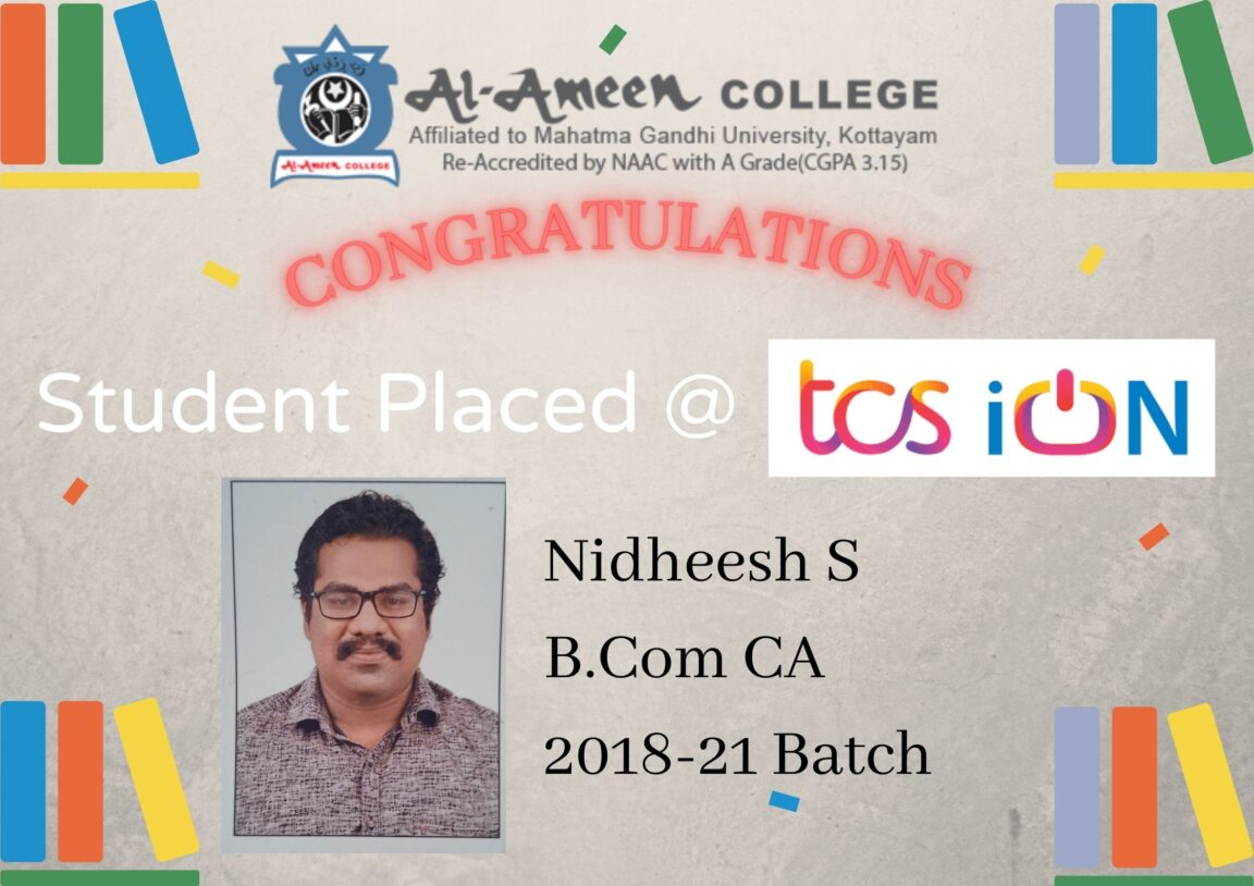 Nitheesh S B.Com Computer Applications Placed in TCS ION DIGITALS
